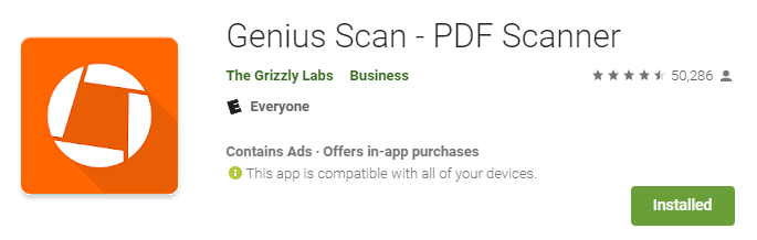 genius scan app - pdf scanner