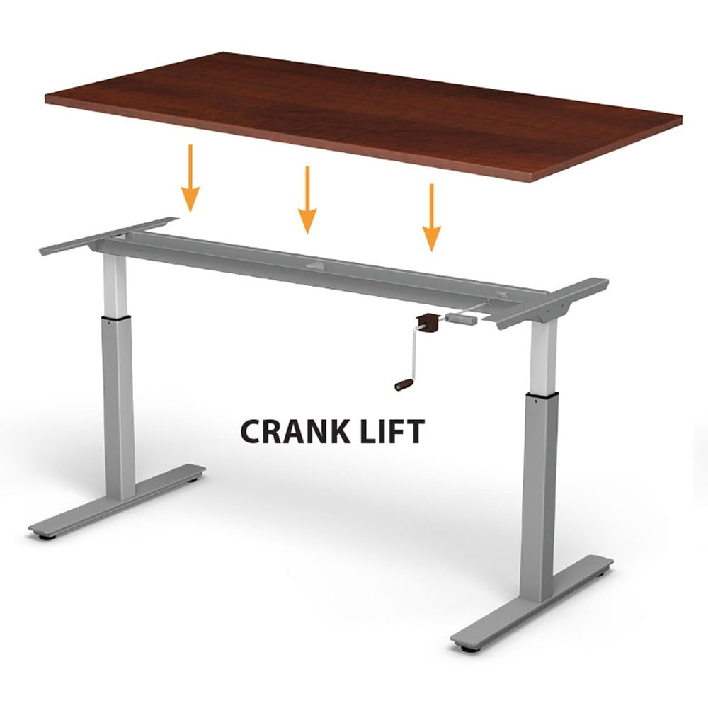 crank lift adjustable desk with wood finish top